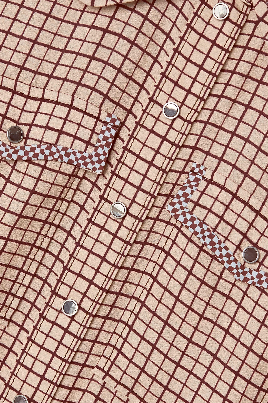 Chloé Robe-chemise en crêpe et en soie à carreaux, broderies et ceinture Kaia