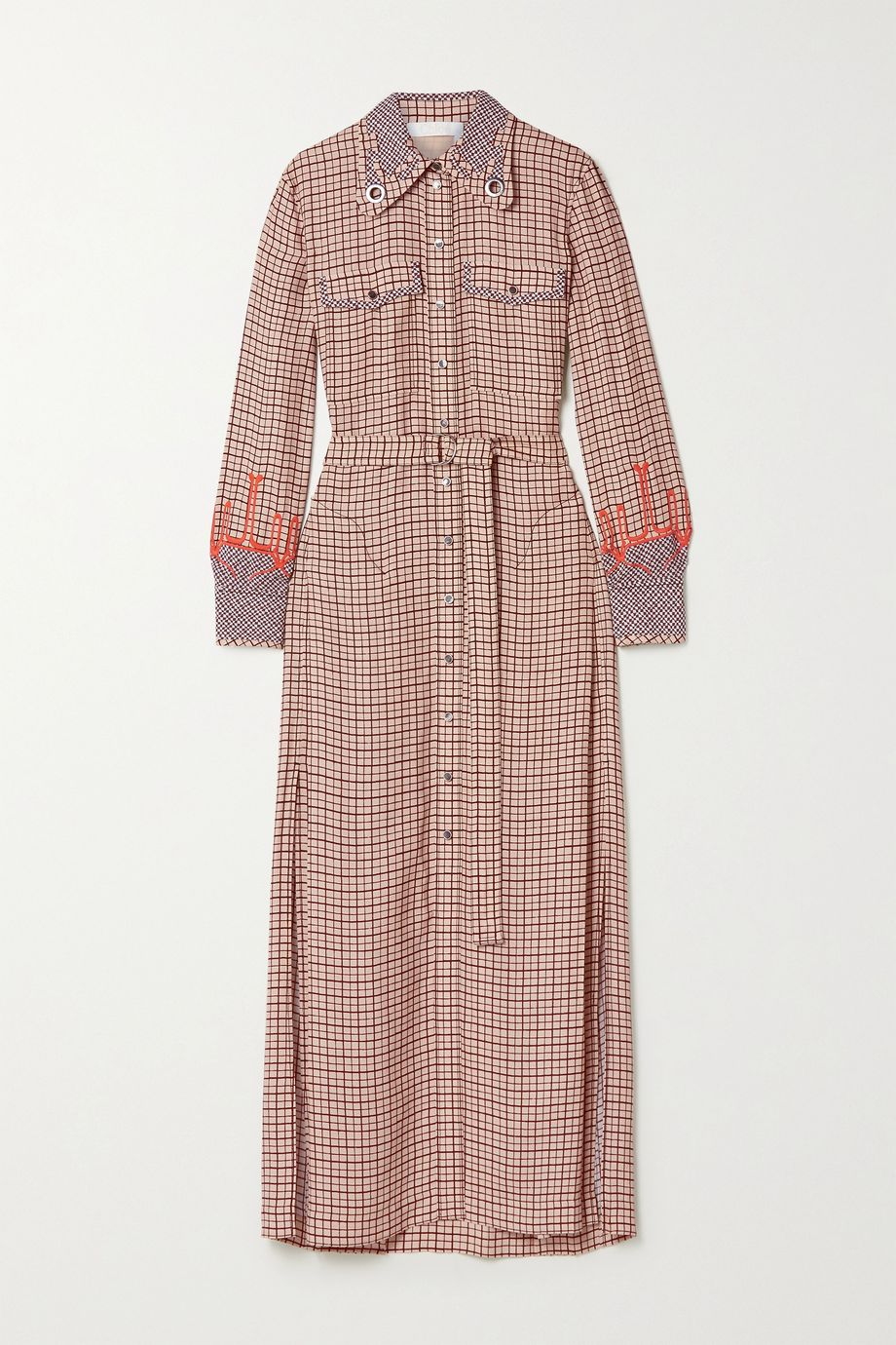 Chloé Kaia belted embroidered checked crepe and silk shirt dress