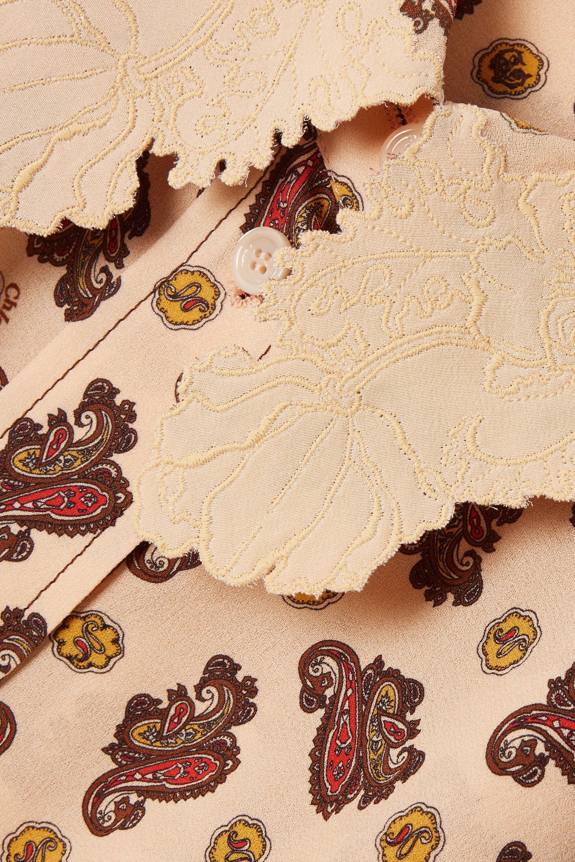 Chloé Hemd aus Crêpe de Chine aus Seide mit Paisley-Print und Stickereien