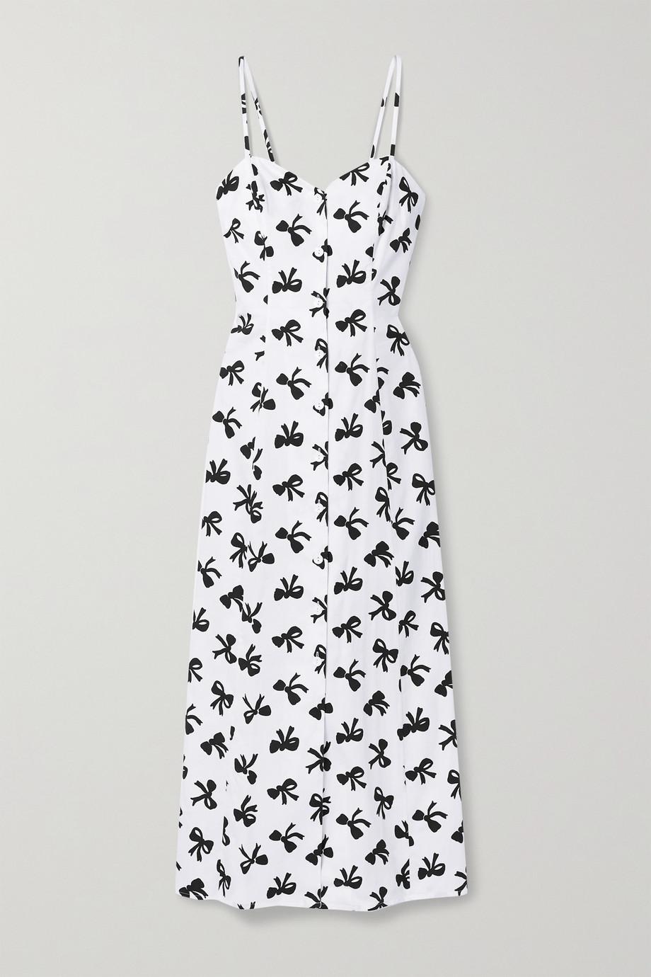 Rebecca de Ravenel Cutout printed cotton-poplin maxi dress
