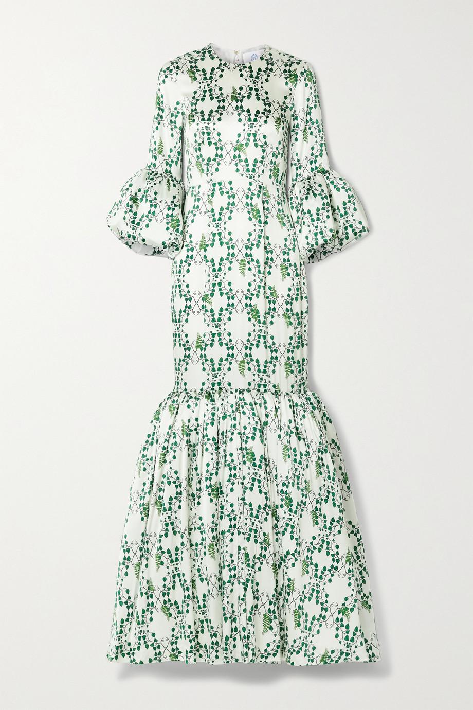 Rebecca de Ravenel Patio ruffled printed silk-satin maxi dress