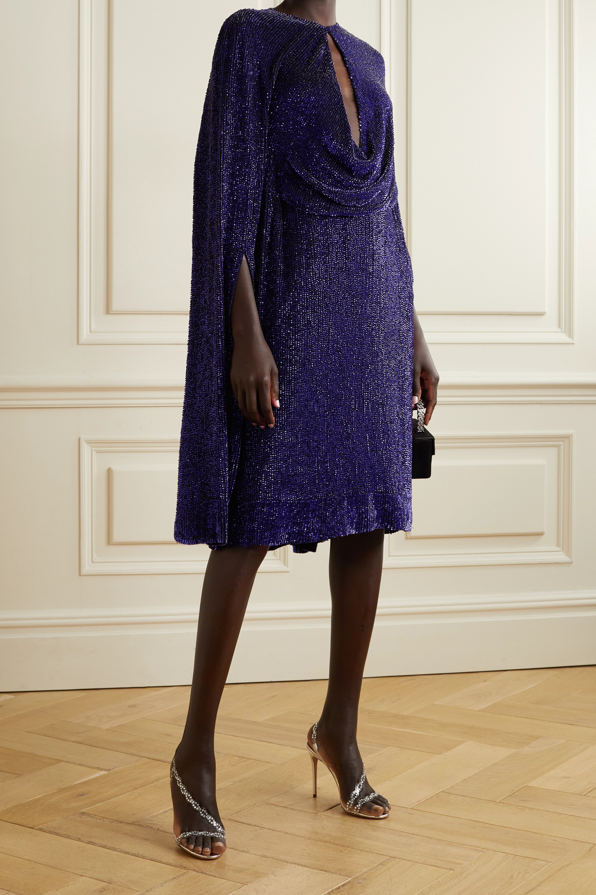Reem Acra Cape-effect cutout draped sequined tulle dress