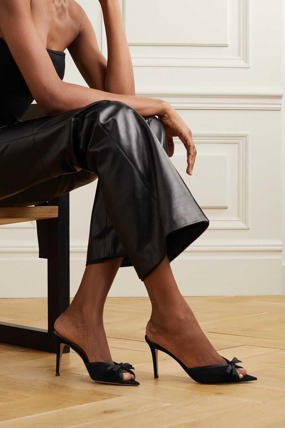 Gianvito Rossi 85 bow-embellished silk-trimmed suede mules