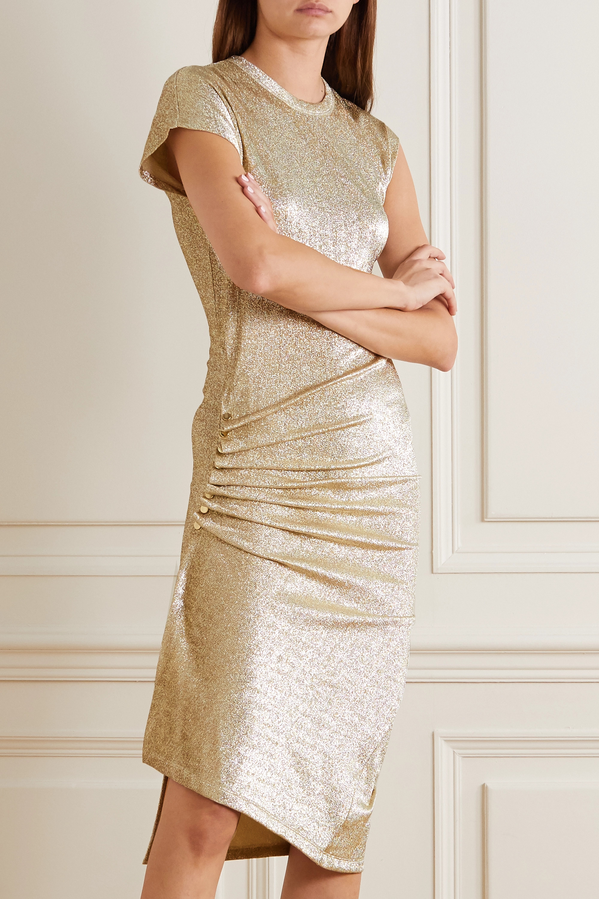 Paco Rabanne Ruched metallic stretch-jersey dress