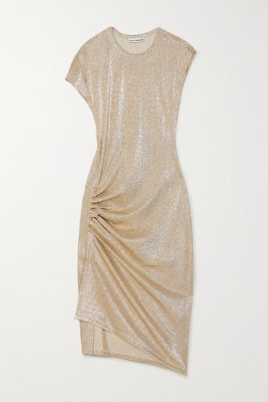 PACO RABANNE RUCHED METALLIC STRETCH-JERSEY DRESS