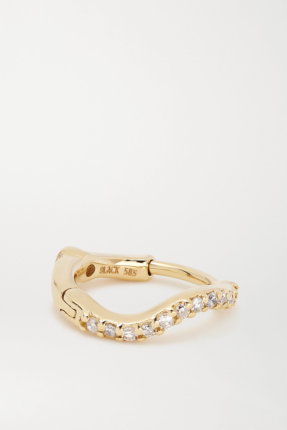 Maria Black Wave Huggie gold, diamond and sapphire earring