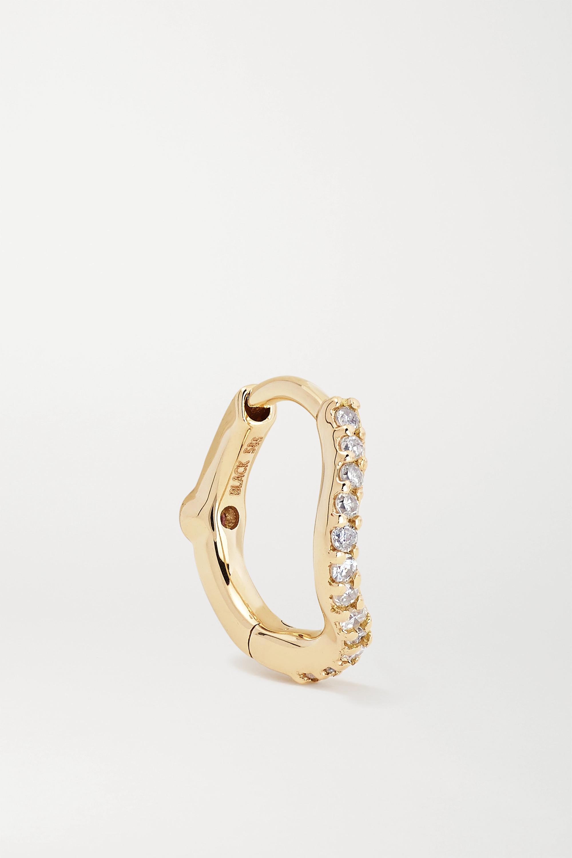 Maria Black Wave Huggie Creole aus Gold mit Diamanten und Saphir