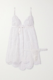 Hanky Panky + NET SUSTAIN + Monique Lhuillier Chérie Chantilly lace chemise and thong set