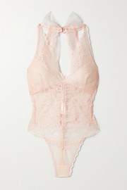 Hanky Panky + NET SUSTAIN + Monique Lhuillier tulle-trimmed lace thong bodysuit