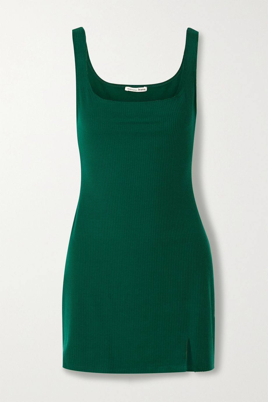 Reformation Karlie ribbed stretch-Tencel mini dress