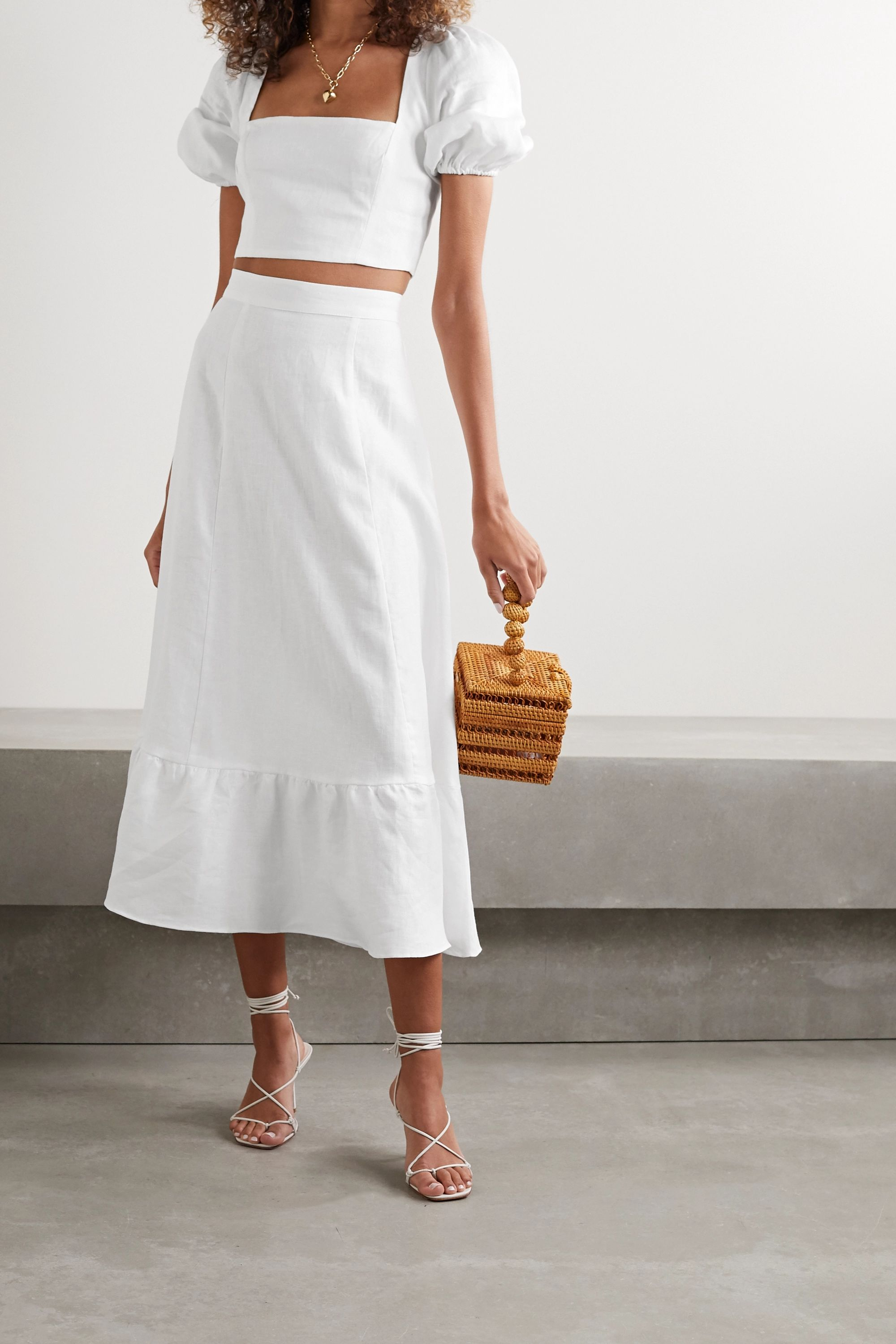 Reformation Yucca smocked ruffled linen top and midi skirt set