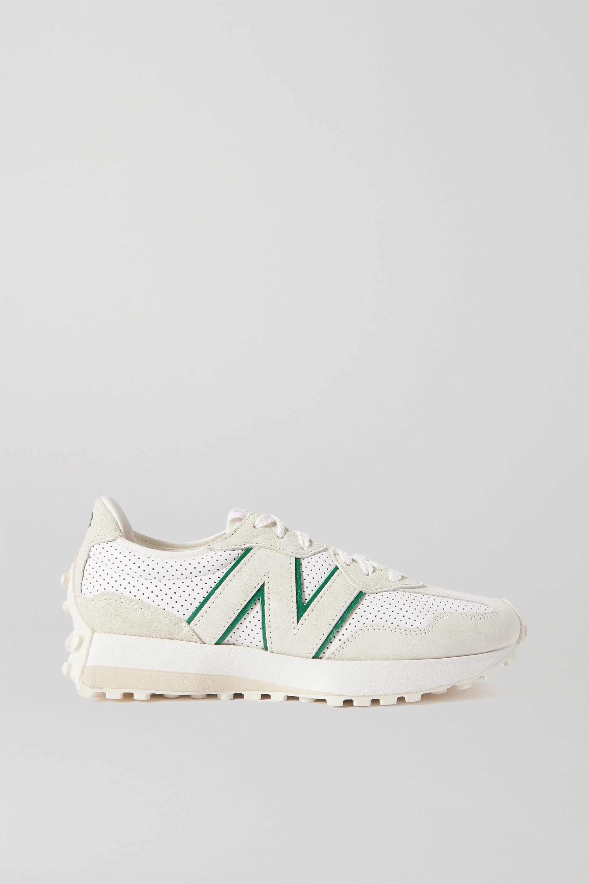 New Balance + Casablanca 327 perforated leather and suede sneakers