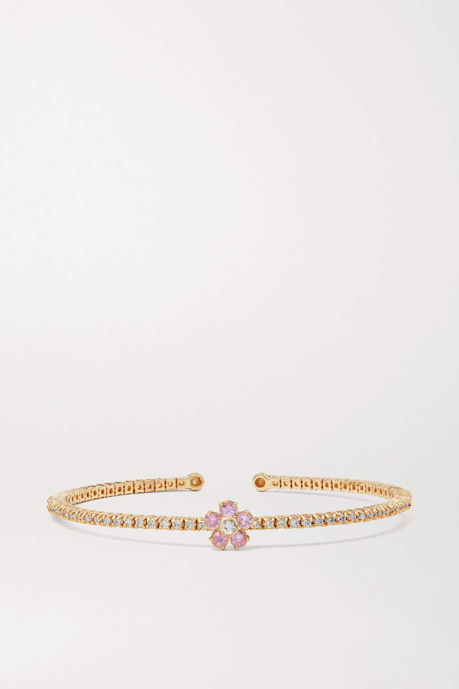 Jennifer Meyer Bracelet en or 18 carats, diamants et saphirs Flower