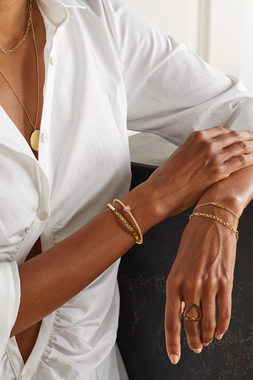 Jennifer Meyer Bracelet en or 18 carats, diamants et saphirs Flower