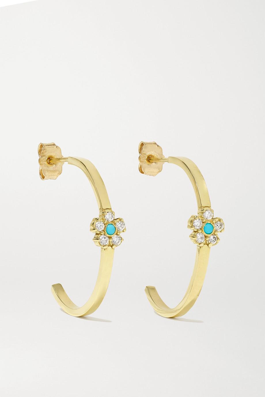 Jennifer Meyer Small 18-karat gold, diamond and turquoise hoop earrings