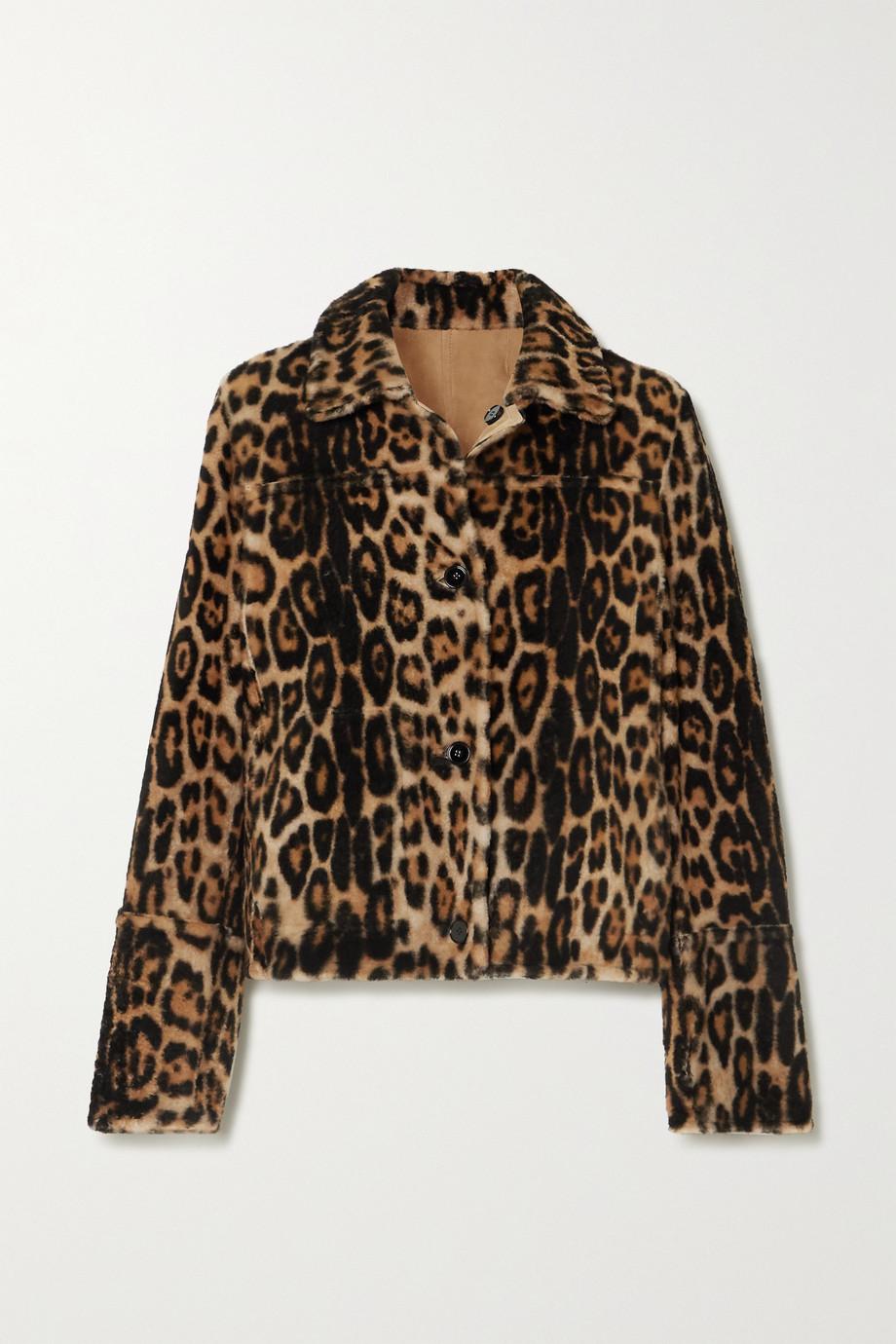 Yves Salomon Cropped leopard-print shearling coat