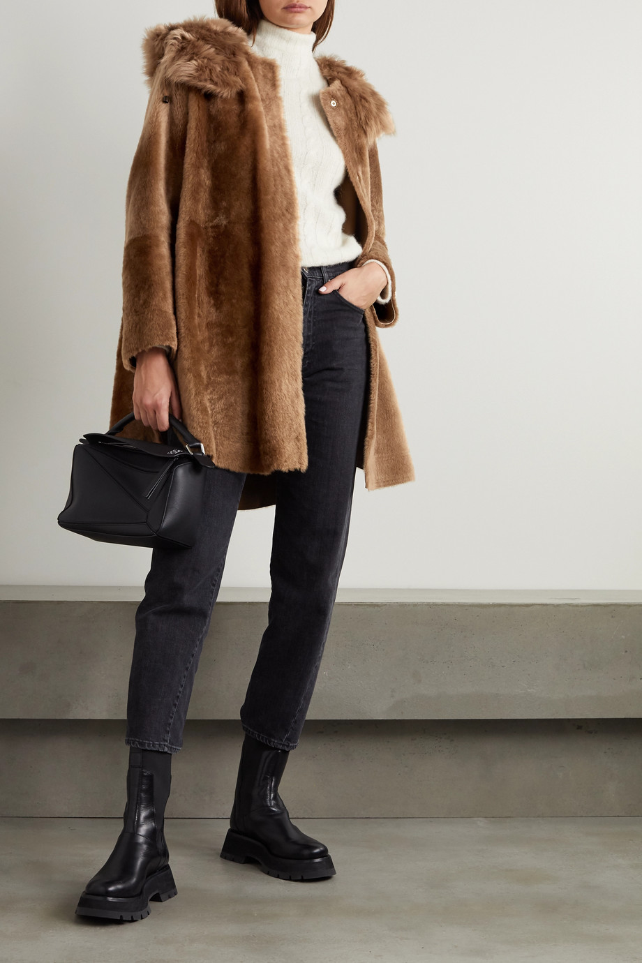 Yves Salomon Reversible hooded shearling coat