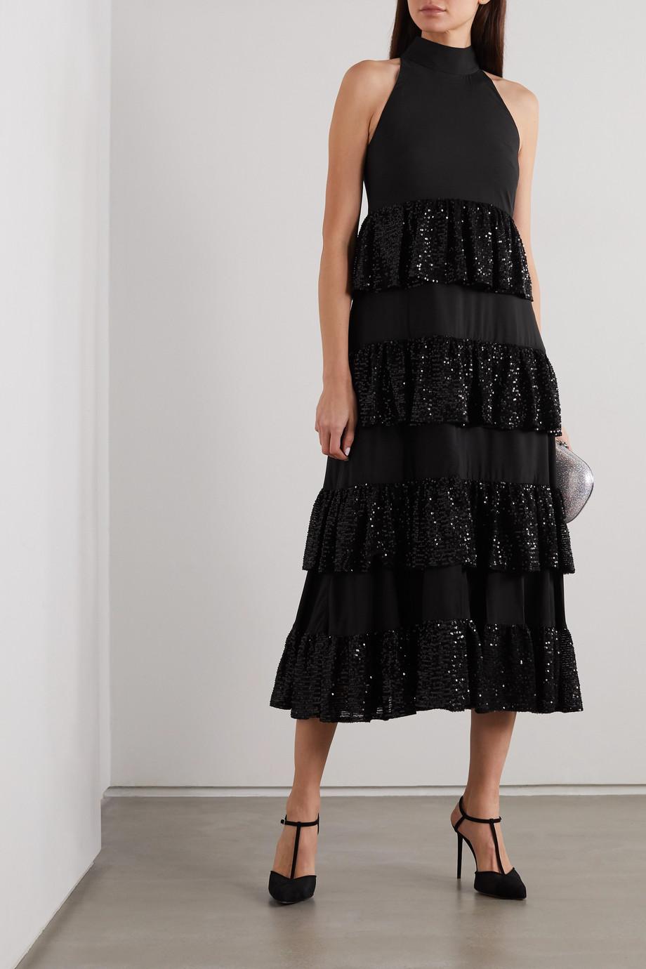 Caroline Constas Iris tiered ruffled sequin-embellished crepe midi dress