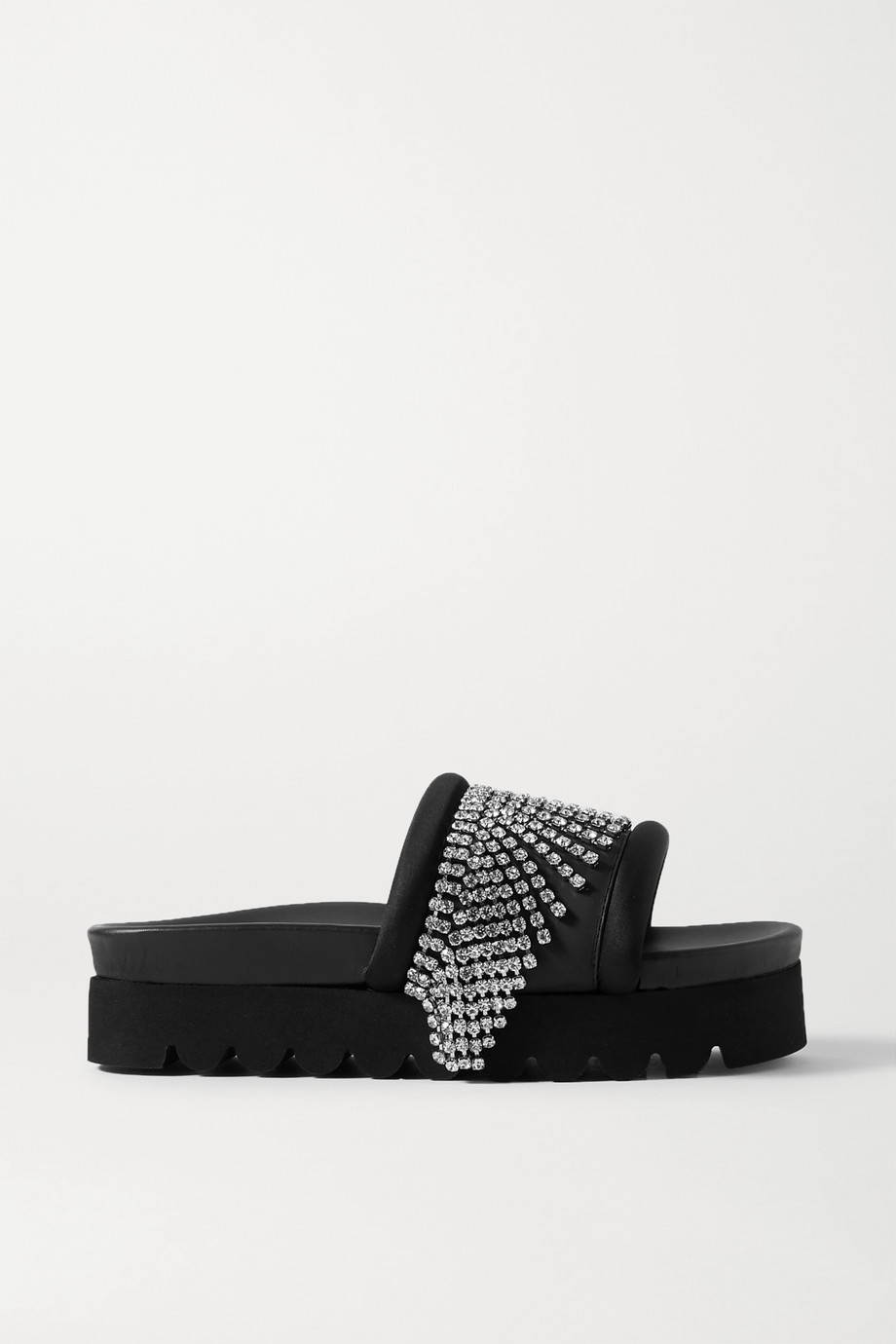 AREA Crystal-embellished satin-trimmed rubber platform slides