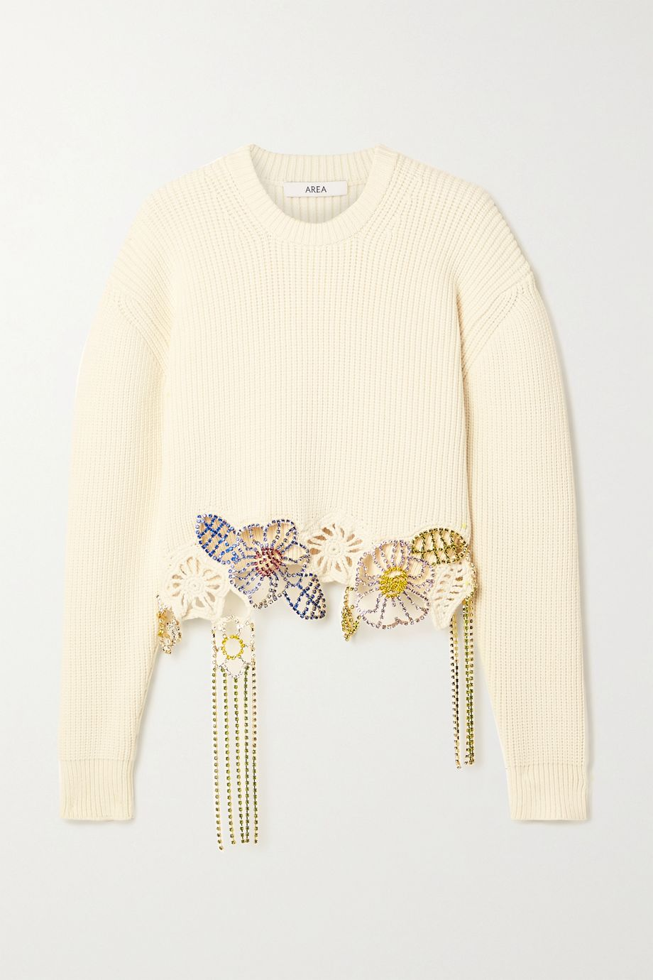 AREA Cropped crystal-embellished ribbed cotton-blend sweater