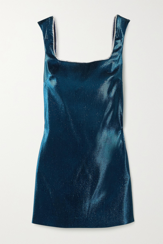 AREA Open-back crystal-embellished lamé mini dress