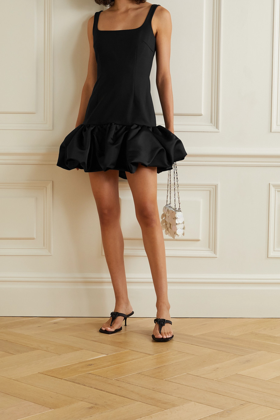 AREA Ruffled satin-trimmed woven mini dress