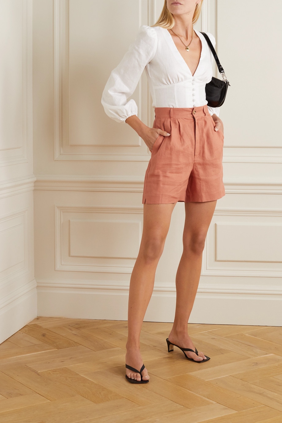 Reformation Bello linen shorts
