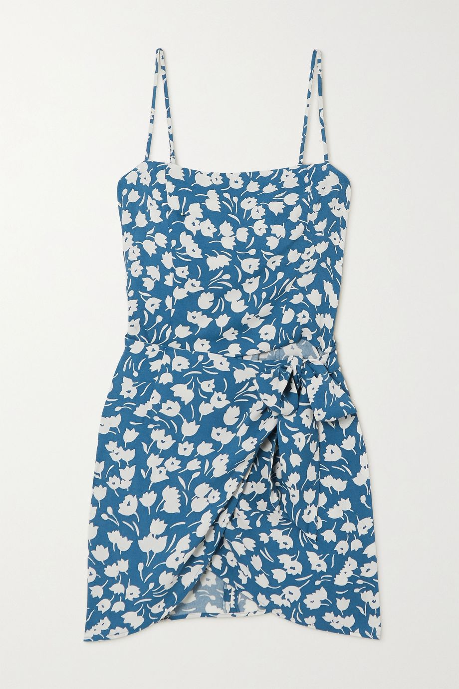 Reformation Canal wrap-effect floral-print crepe mini dress