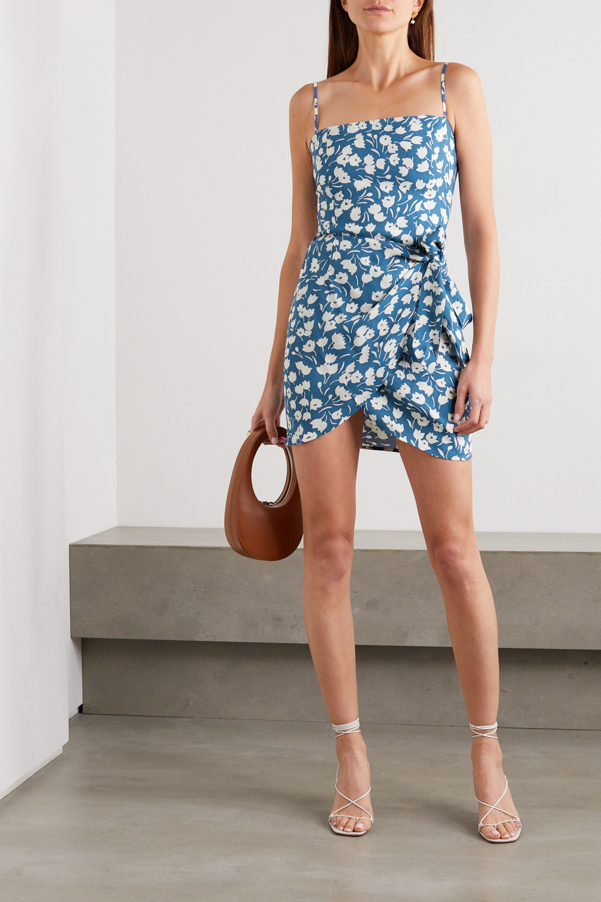 Reformation Canal wrap-effect floral-print crepe mini dress