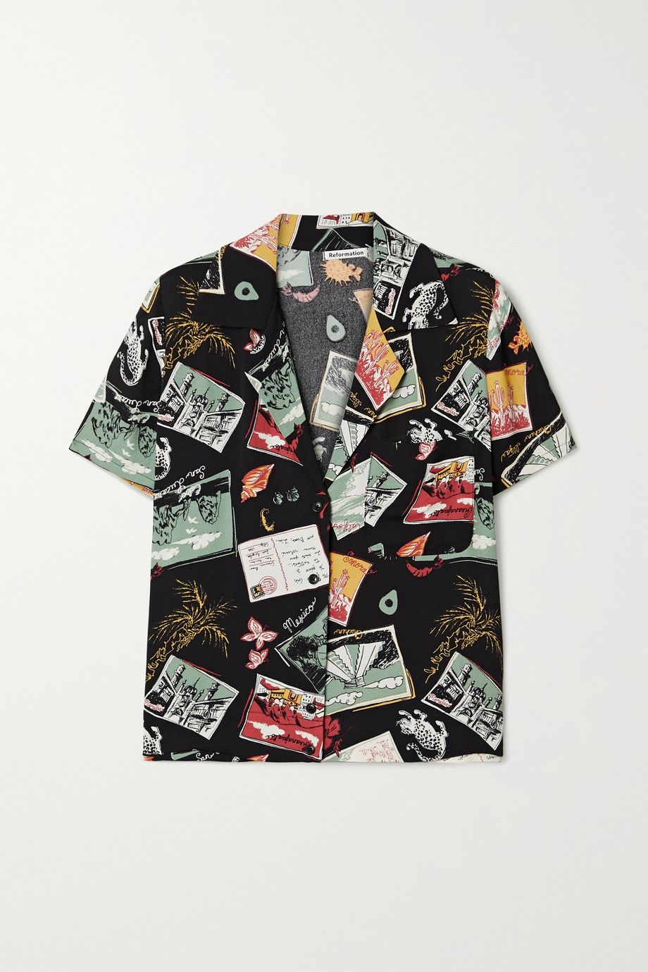 Reformation Cuba printed crepe shirt