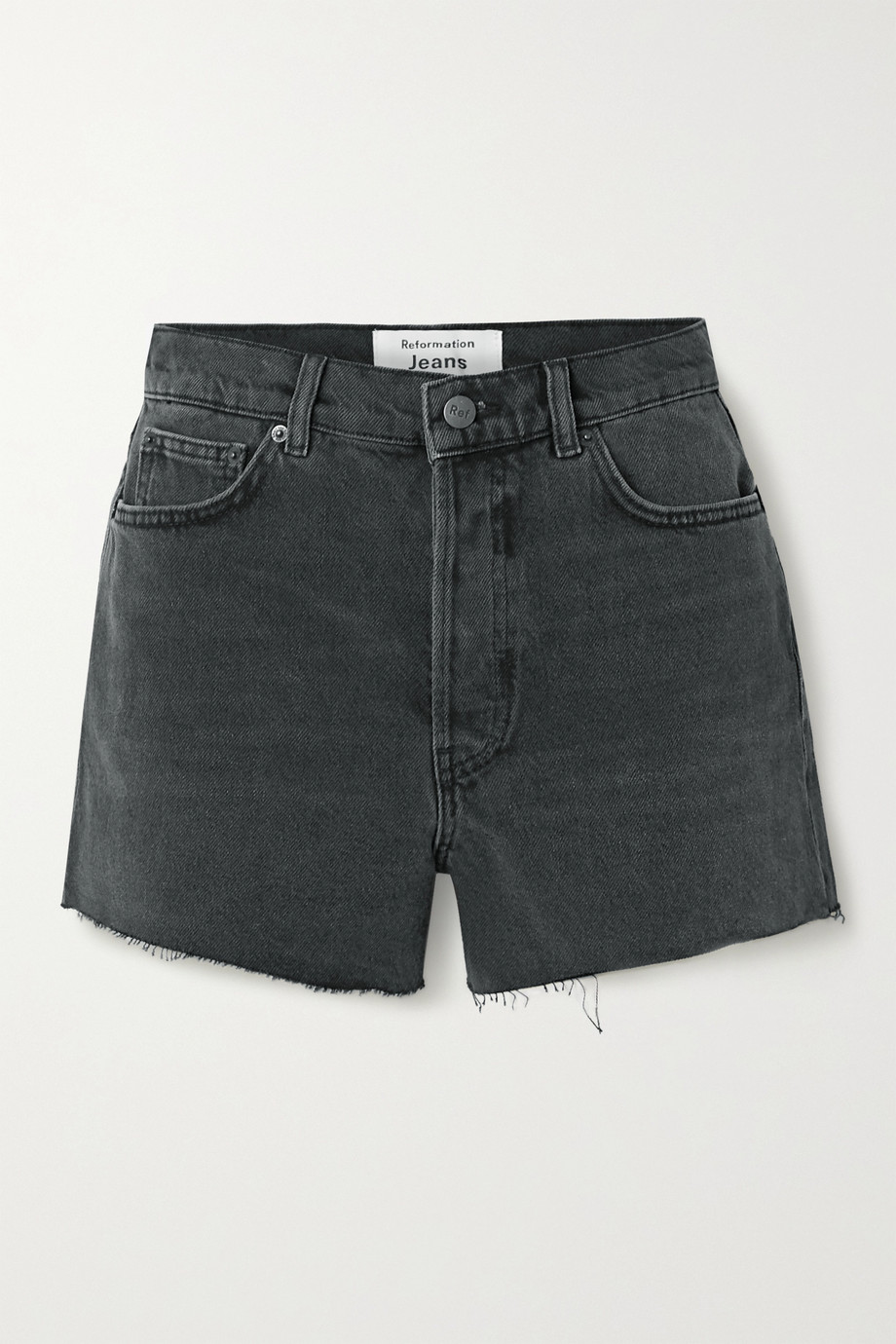 Reformation Dixie frayed denim shorts