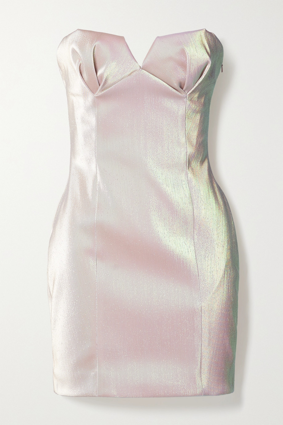 AREA Strapless iridescent lamé mini dress