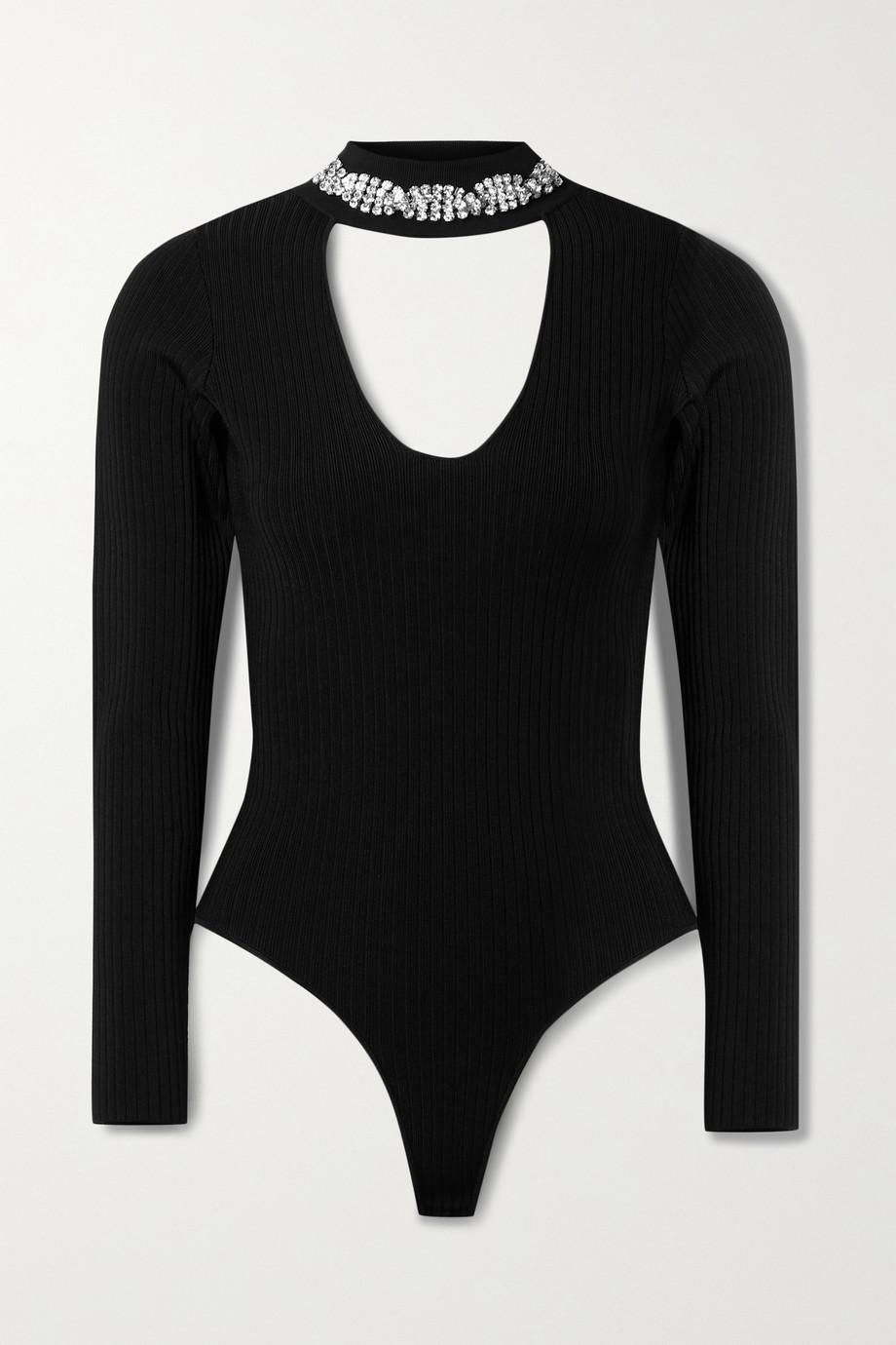 AREA Cutout crystal-embellished ribbed-knit bodysuit