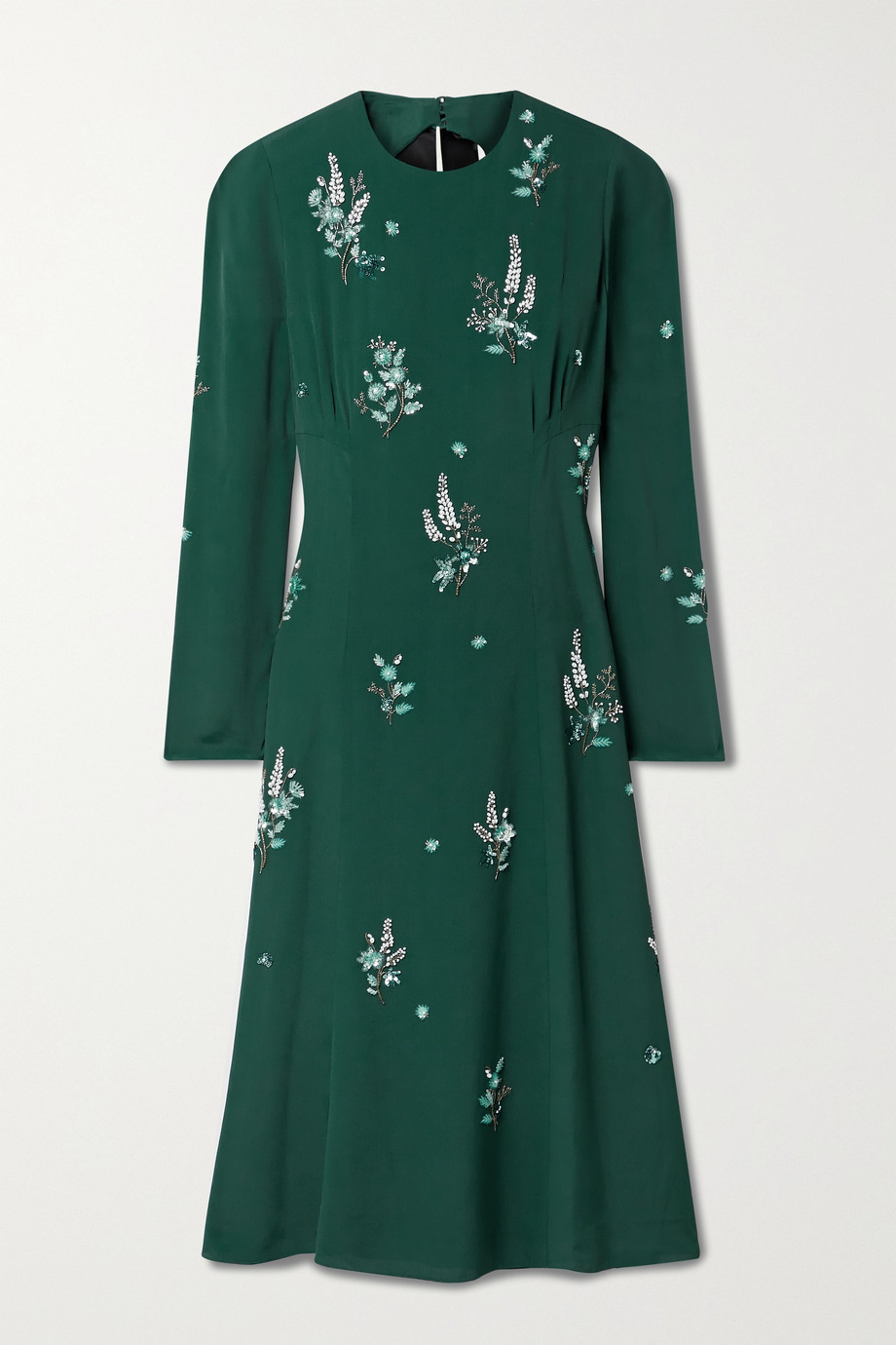 Erdem Velvet-trimmed embellished cutout crepe midi dress