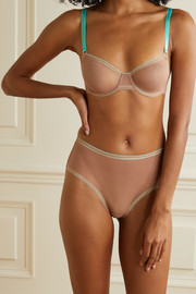 Dora Larsen Juno lace-trimmed satin and stretch-tulle underwired soft-cup bra