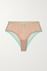 Dora Larsen Juno lace-trimmed stretch-tulle briefs