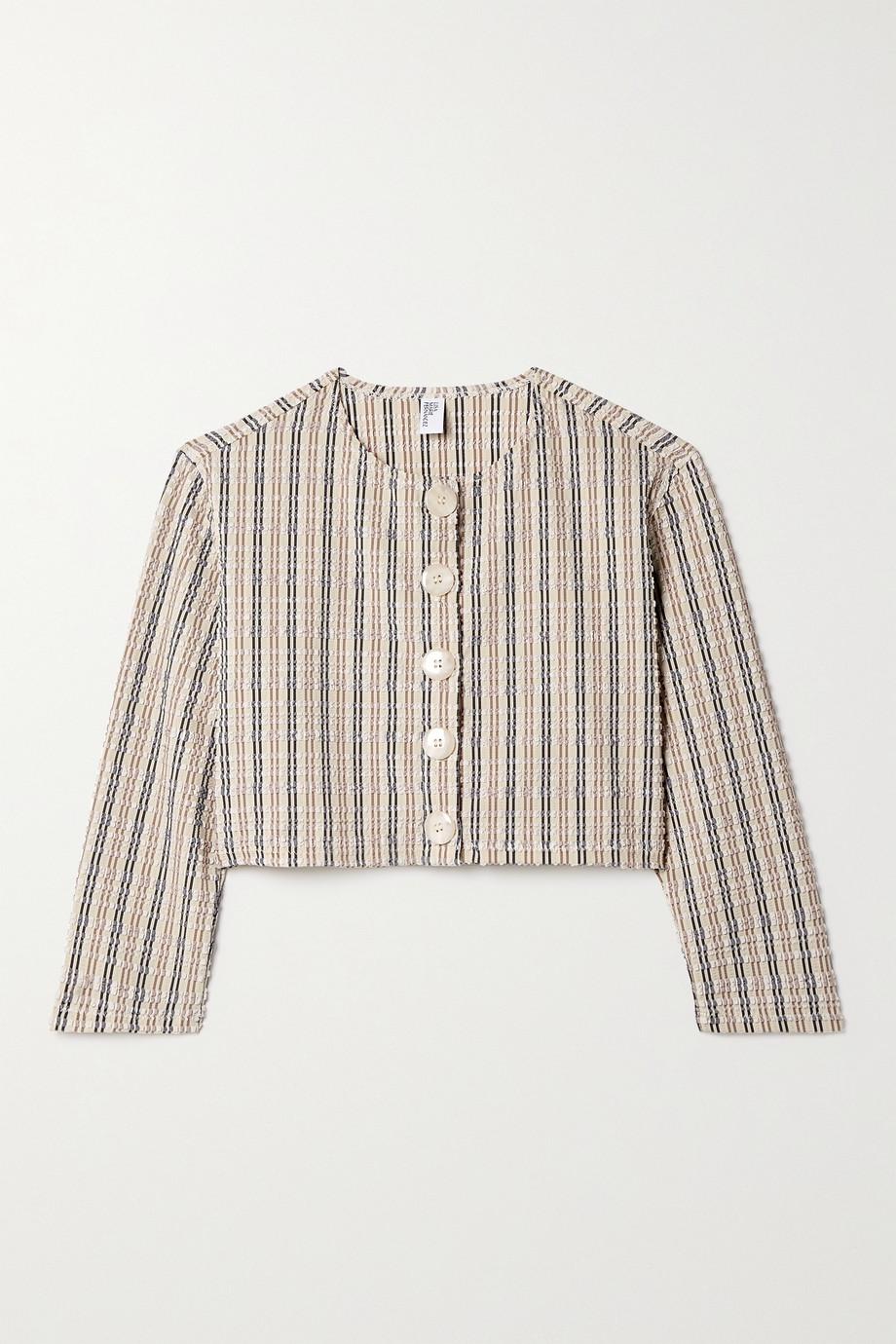 Lisa Marie Fernandez + NET SUSTAIN cropped striped seersucker cardigan