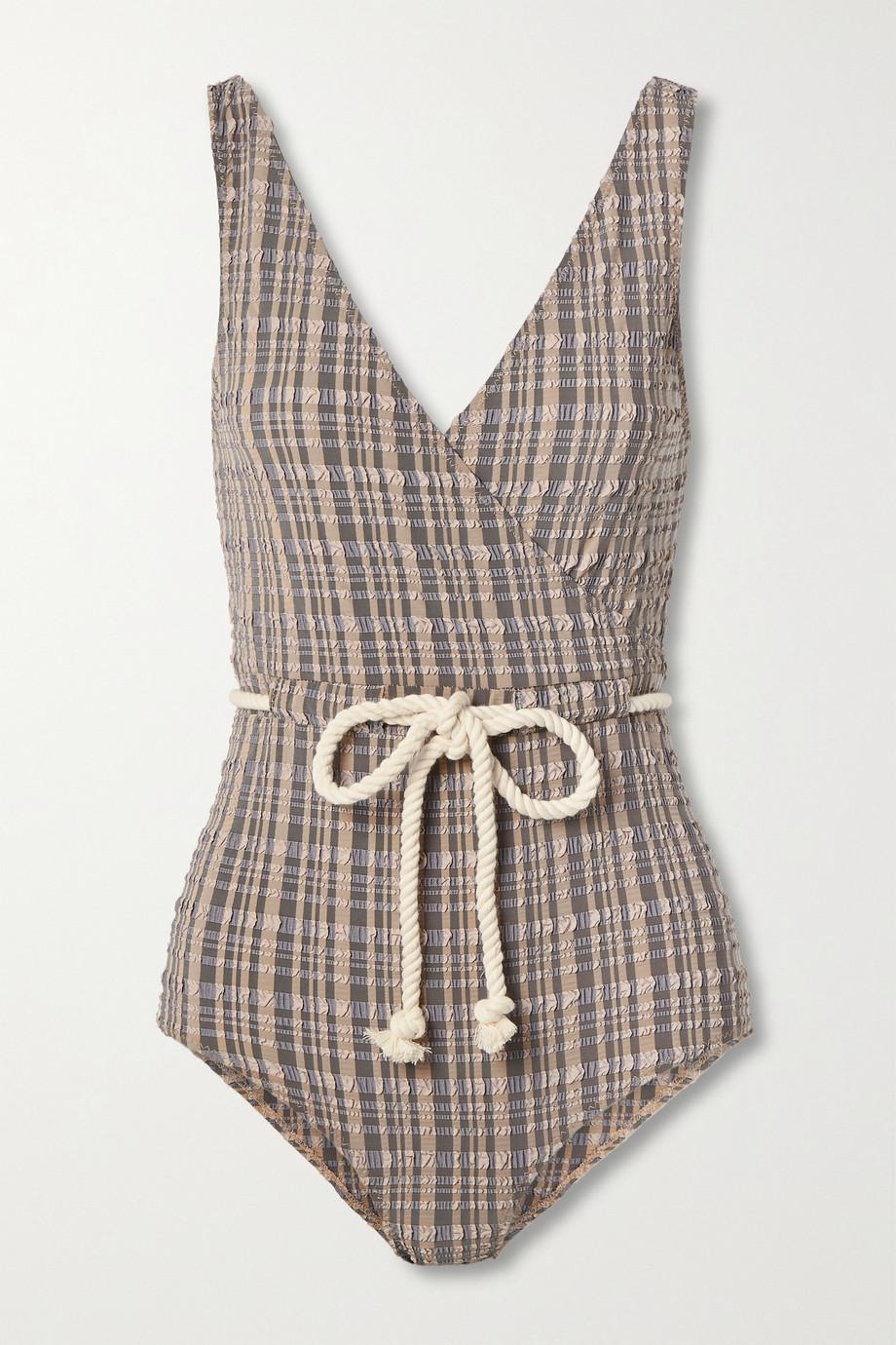 Lisa Marie Fernandez + NET SUSTAIN Yasmin wrap-effect rope-detailed striped seersucker swimsuit