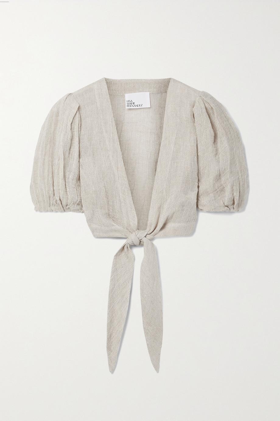 Lisa Marie Fernandez + NET SUSTAIN Pouf cropped tie-front linen-blend gauze top