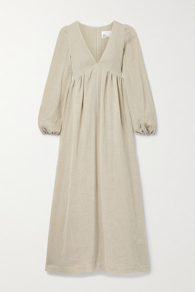 Lisa Marie Fernandez NET SUSTAIN CAROLYN ORGANIC LINEN-BLEND GAUZE MAXI DRESS