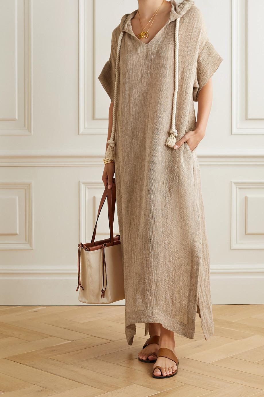 Lisa Marie Fernandez + NET SUSTAIN hooded linen-blend gauze kaftan