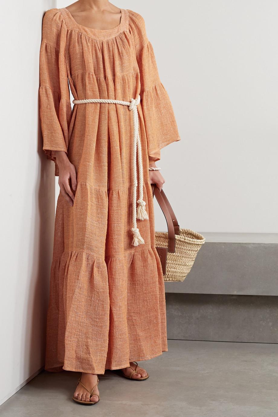 Lisa Marie Fernandez + NET SUSTAIN Oversized-Maxikleid aus Gaze aus einer Leinenmischung mit Bindegürtel