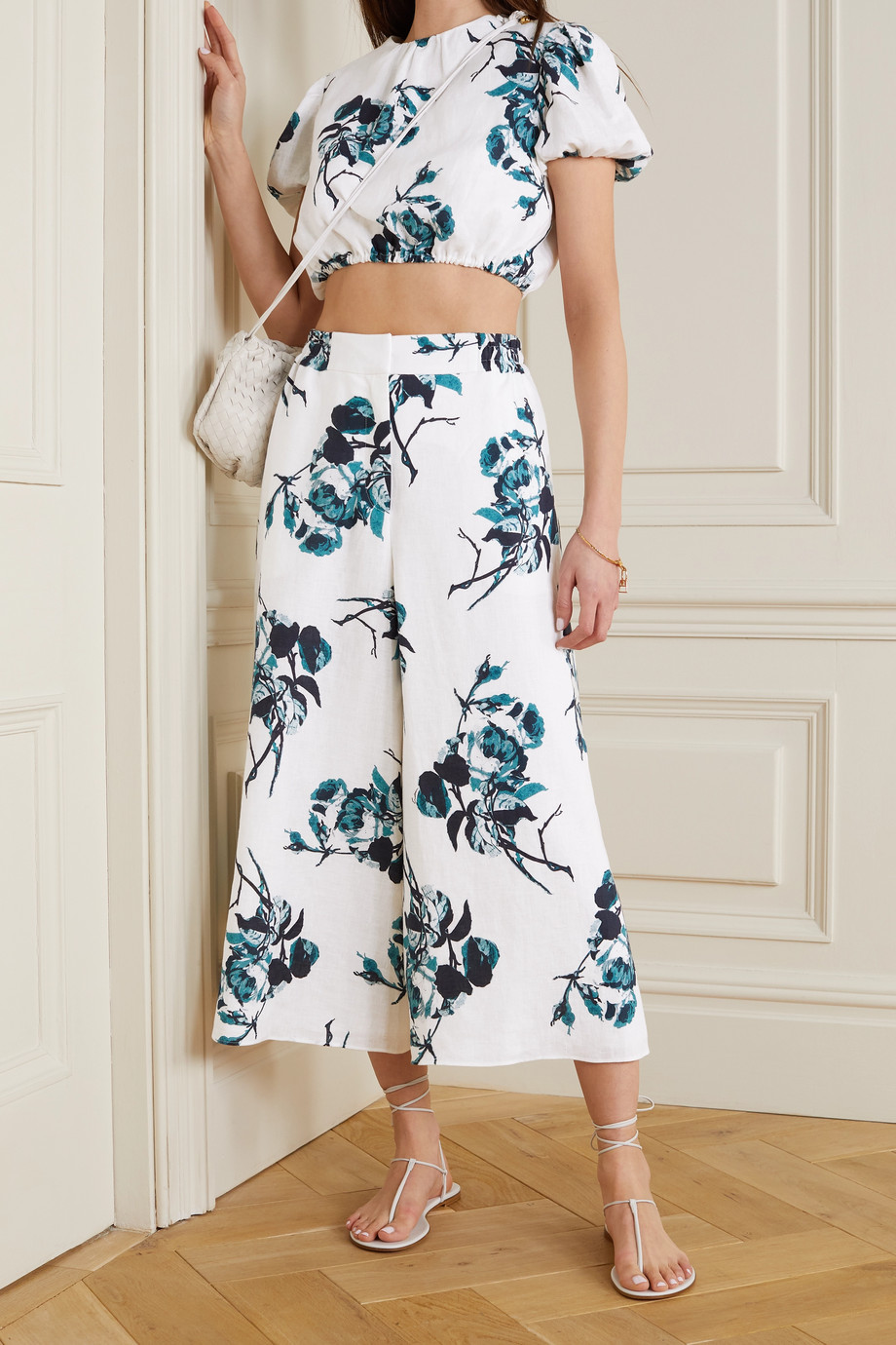 Erdem Mouna floral-print linen culottes