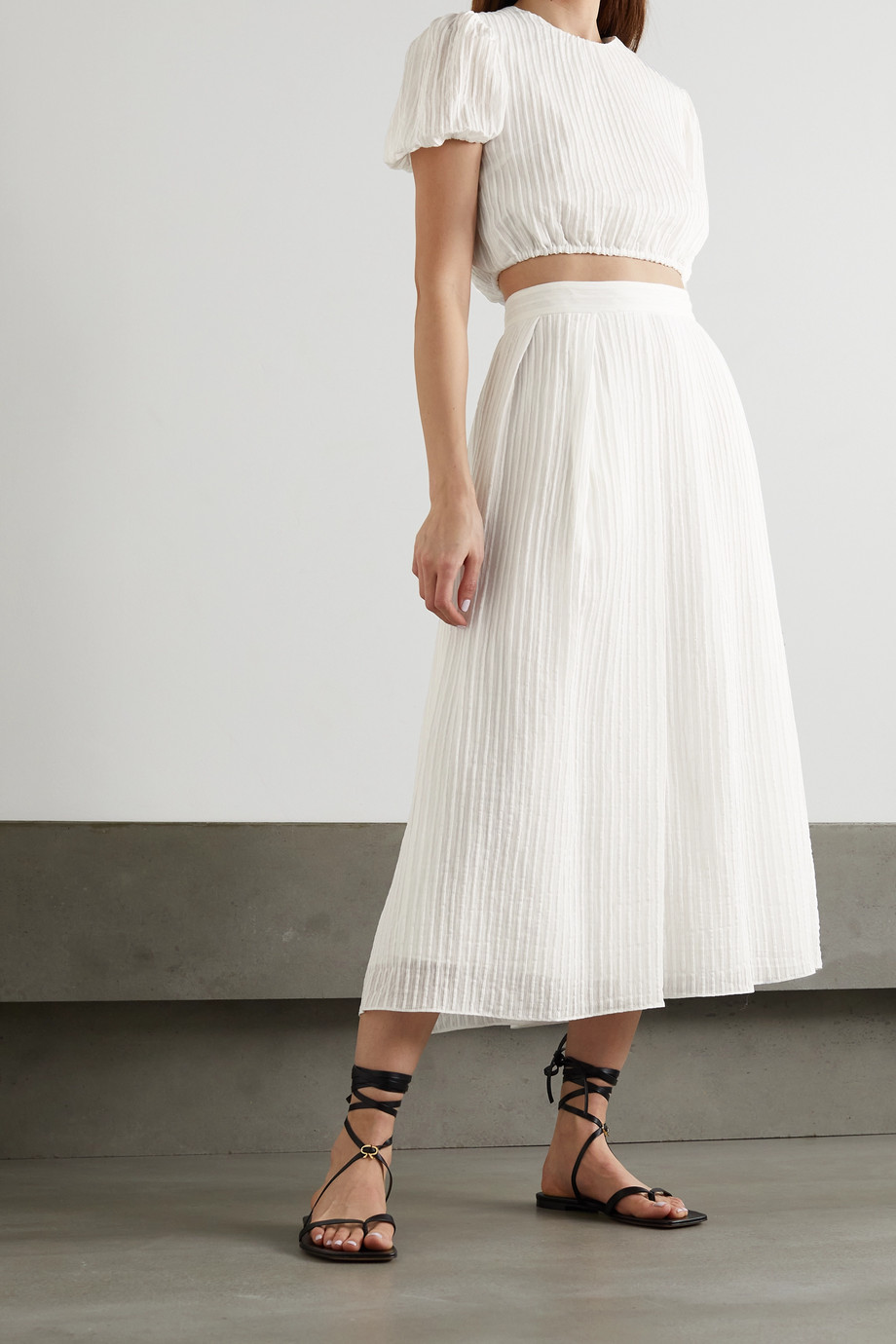 Erdem Lavin pleated seersucker midi skirt