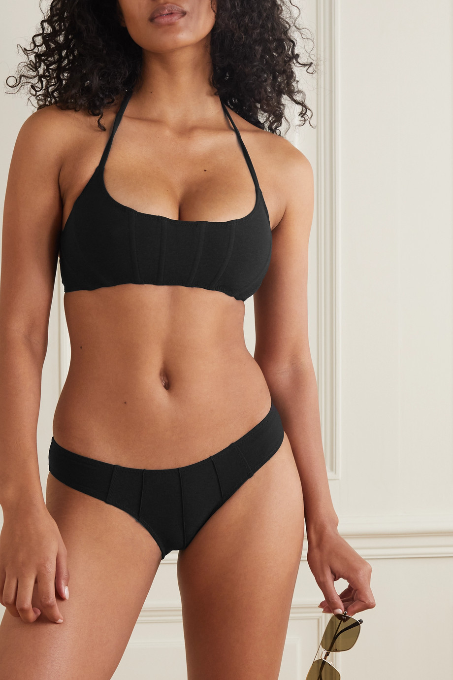 Lisa Marie Fernandez + NET SUSTAIN Corset stretch-crepe halterneck bikini