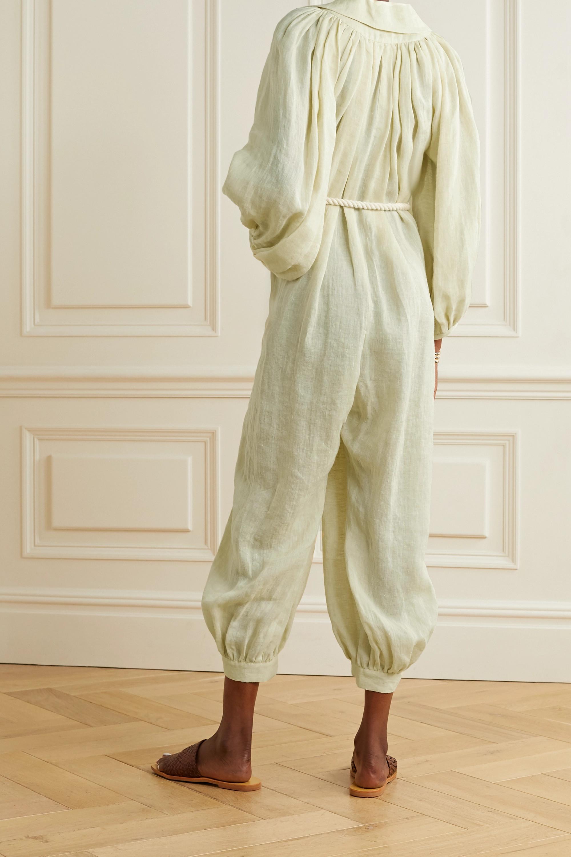 Lisa Marie Fernandez + NET SUSTAIN Poet belted linen jumpsuit