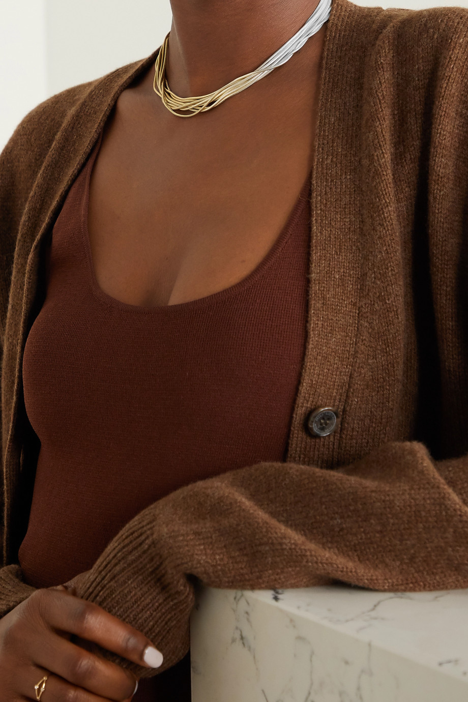SARAH & SEBASTIAN Feeler gold vermeil and silver necklace