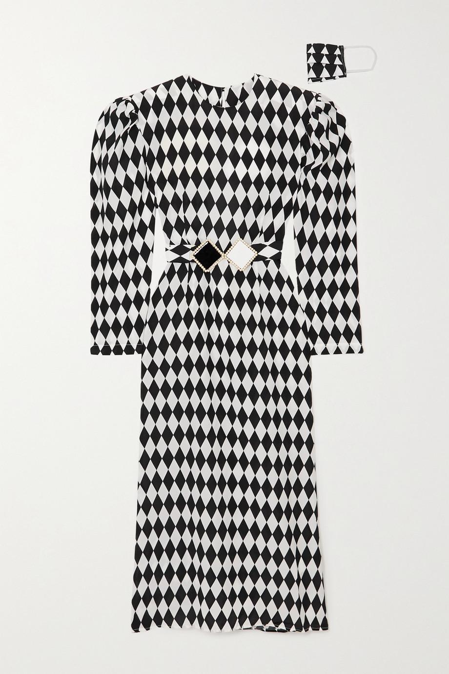 Rowen Rose Belted open-back printed silk crepe de chine midi dress