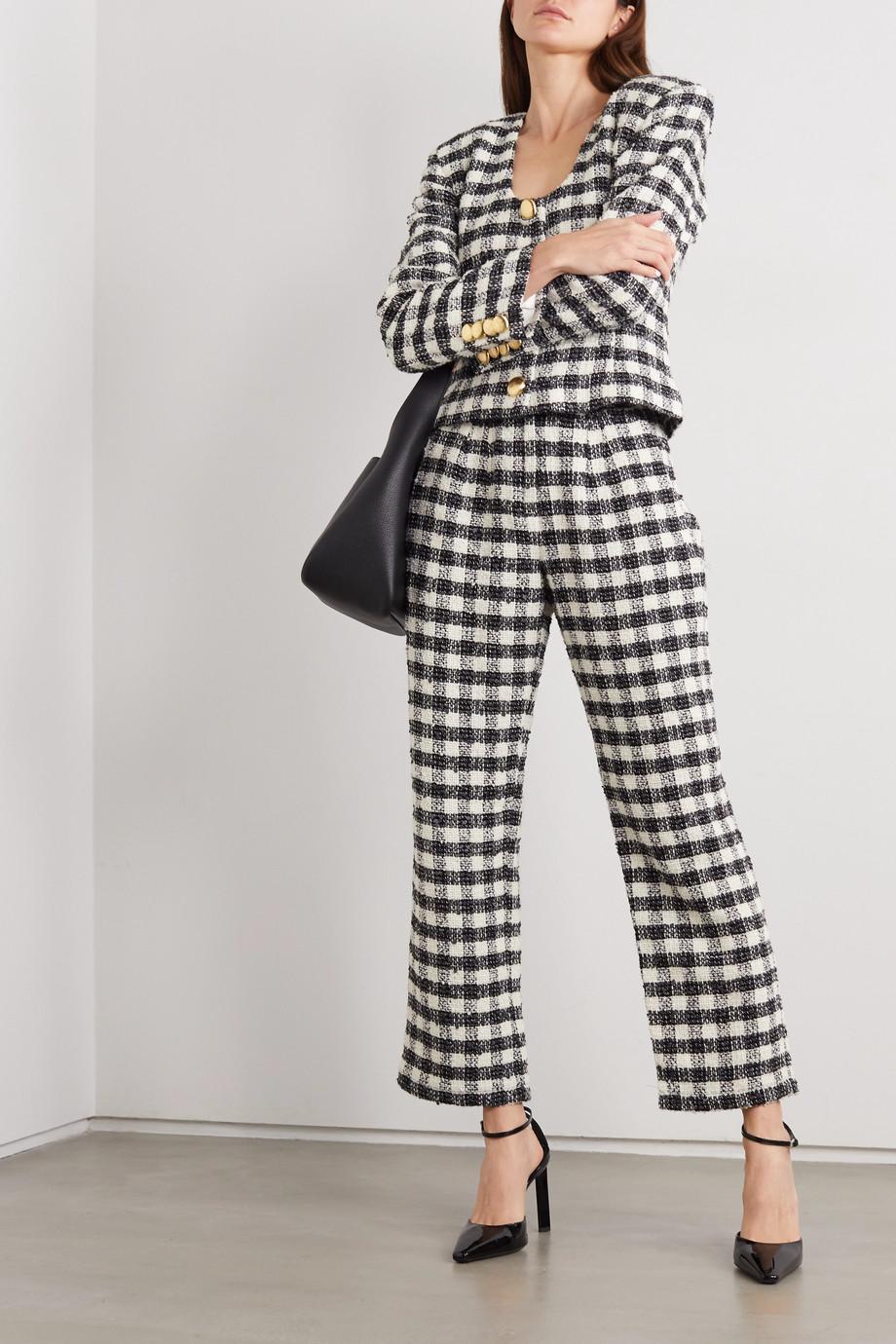 Rowen Rose Checked tweed straight-leg pants
