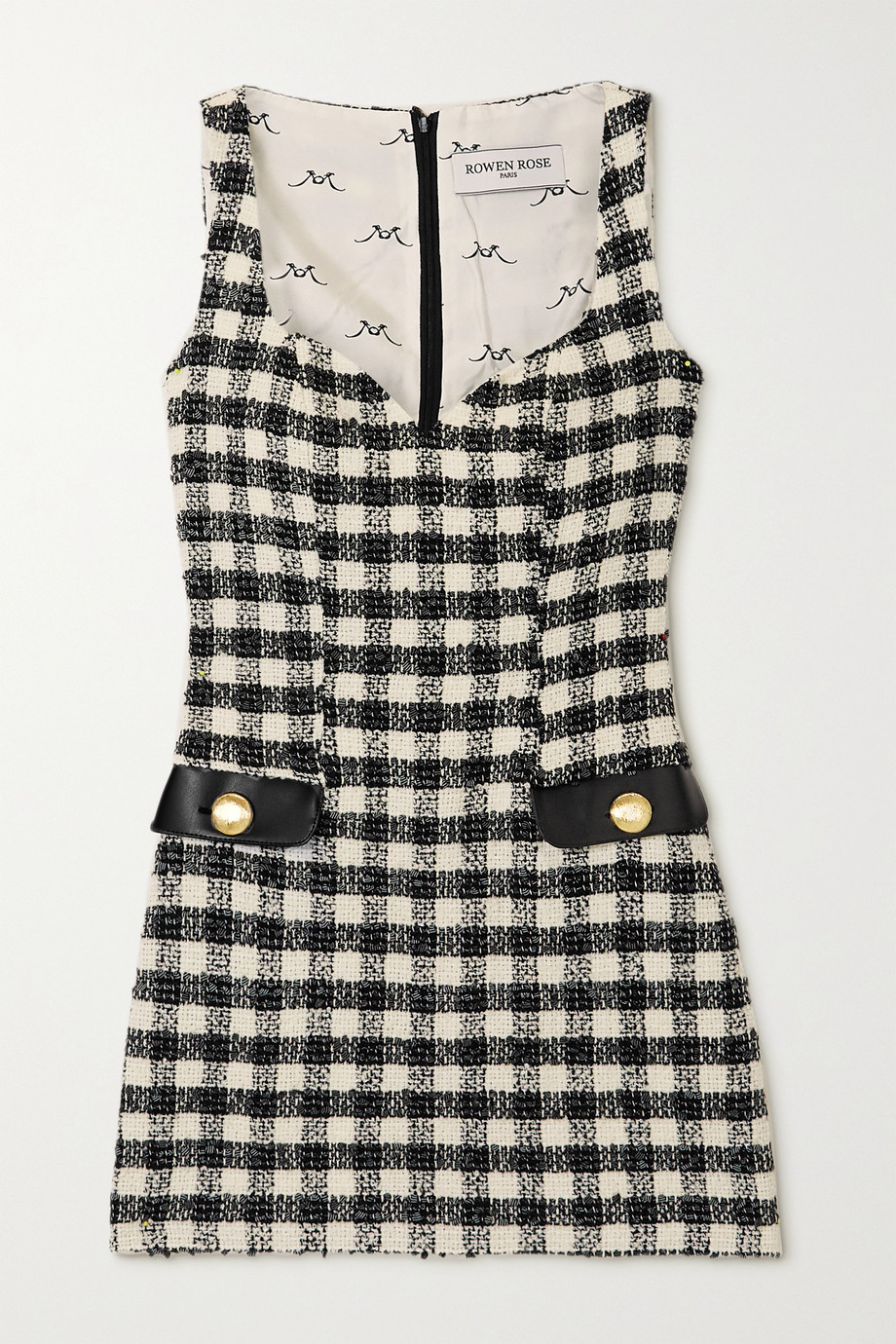 Rowen Rose Faux leather-trimmed checked tweed mini dress